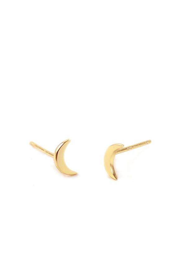 Kris Nations Crescent Moon Stud Earrings in 18K Gold Vermeil