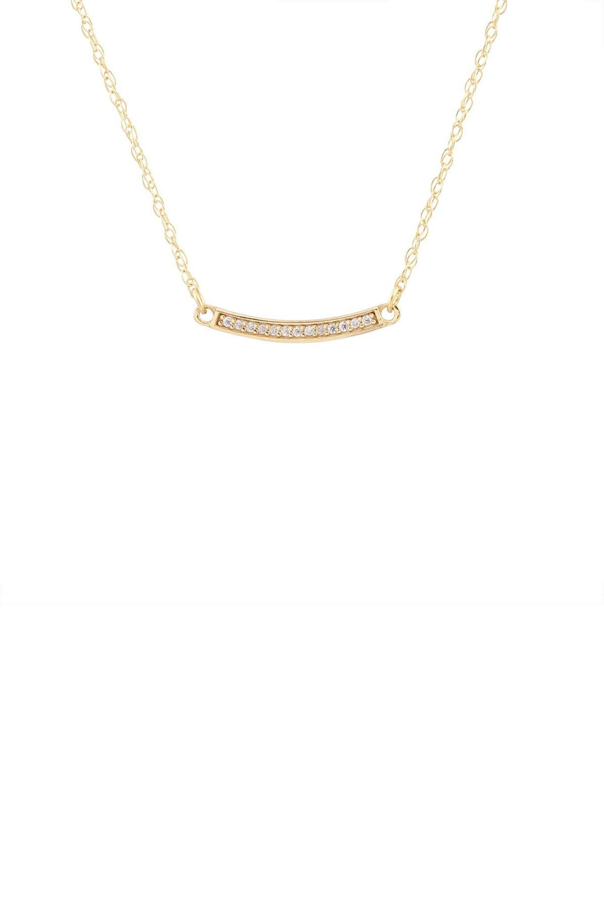 Kris Nations Bar Pave Charm Necklace in 18K Gold Vermeil