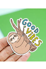 Load image into Gallery viewer, Turtle's Soup Good Vibes Sloth Sticker