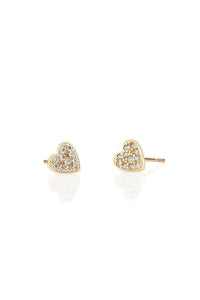 Kris Nations Heart Pave Stud Earrings in 18K Gold Vermeil
