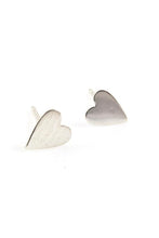 Load image into Gallery viewer, Baleen Heart Studs Silver