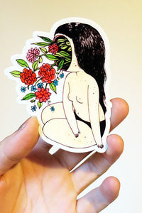 Stasia Burrington Flower Face Vinyl Sticker