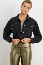 Load image into Gallery viewer, Mono B Lightly Distressed Crop Denim Jacket Charcoal Grey