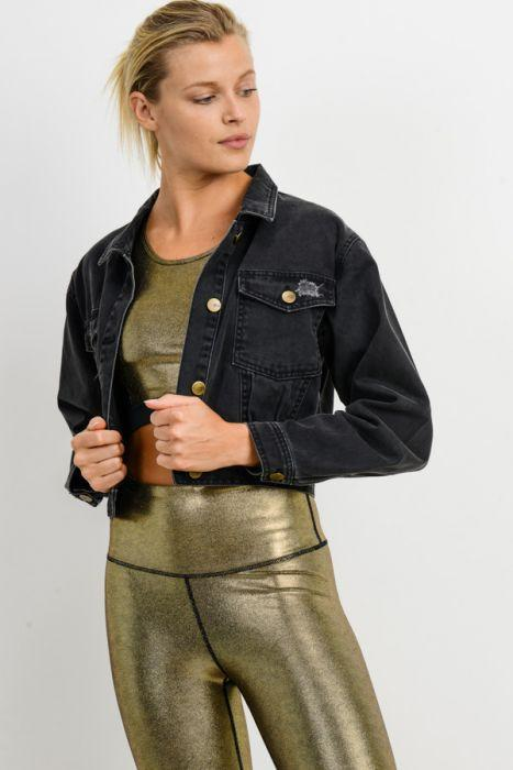 Mono B Lightly Distressed Crop Denim Jacket Charcoal Grey