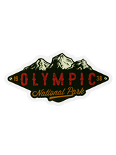 Load image into Gallery viewer, Lantern Press Vinyl Sticker Olympic Mountains Green
