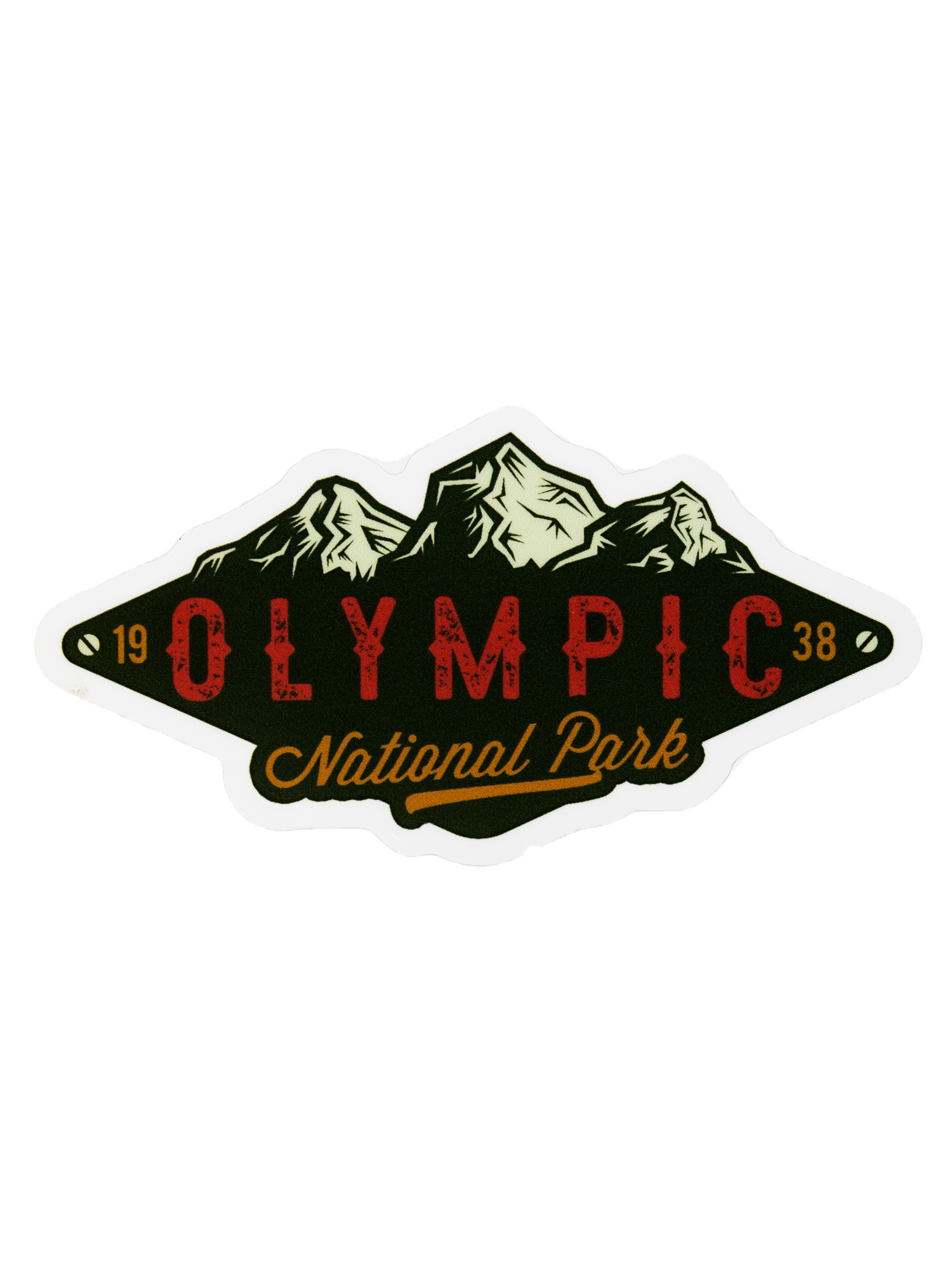 Lantern Press Vinyl Sticker Olympic Mountains Green
