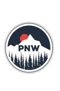 Stickers Northwest PNW Sun Setting Behind Mountain Large Printed Sticker