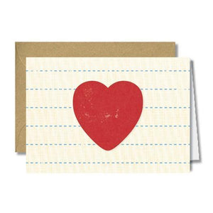 The Found Greeting Card Big Heart On Vintage Paper