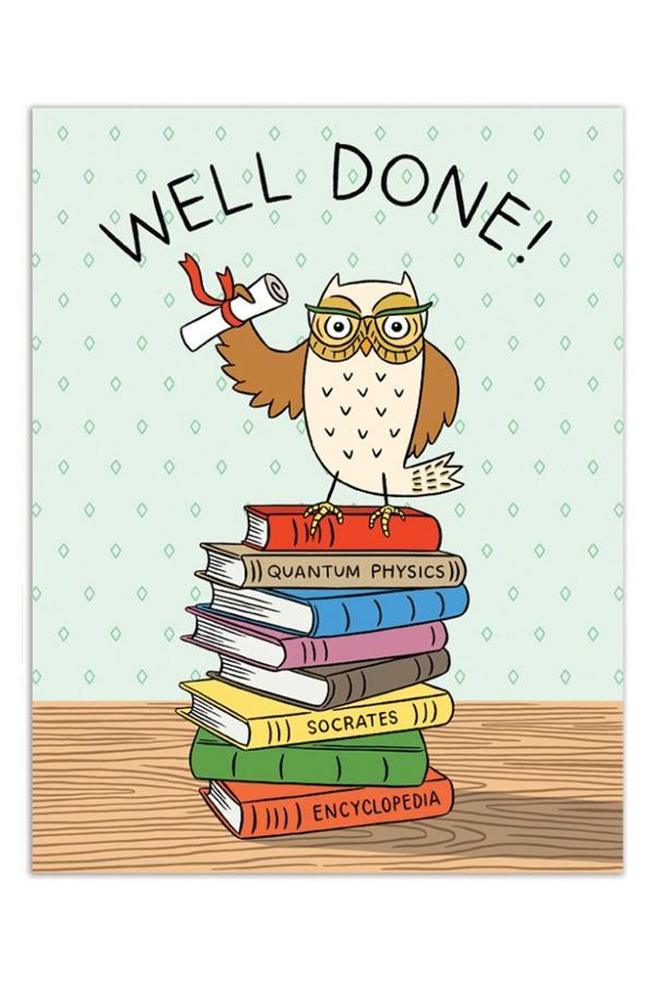 The Found Greeting Card Grad Owl Graduation