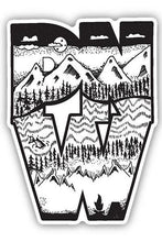 Load image into Gallery viewer, Stickers Northwest PNW Block Mountain Sketch Large Printed Sticker