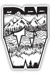Stickers Northwest PNW Block Mountain Sketch Large Printed Sticker
