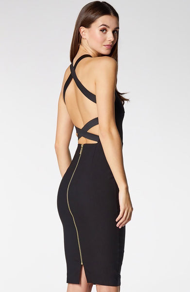Vesper Kendall Black Strappy Back Pencil Dress