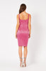 Vesper Lira Pink Satin Square Neck Pencil Dress