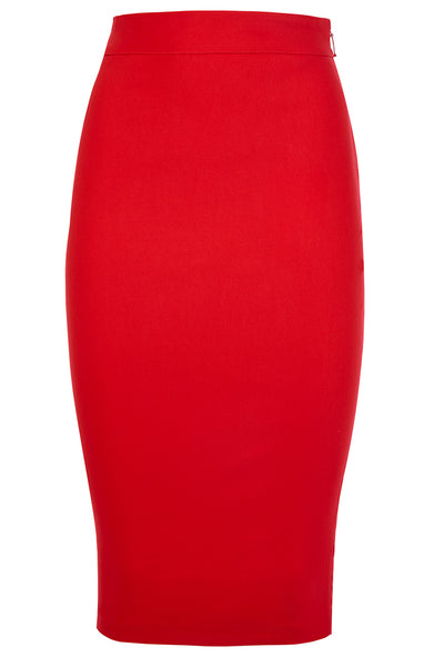 Vesper Jade Red Bodycon Midi Skirt