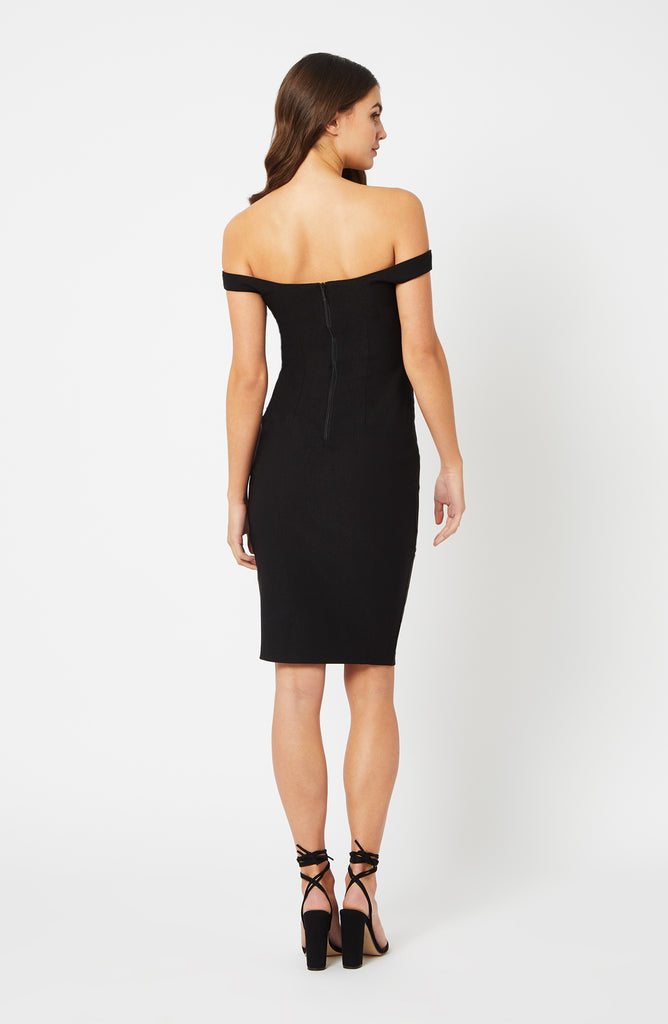 Vesper Elita Black Bardot Midi Dress