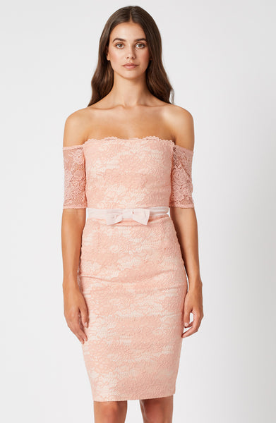Vesper Elena Blush Lace Bardot Dress