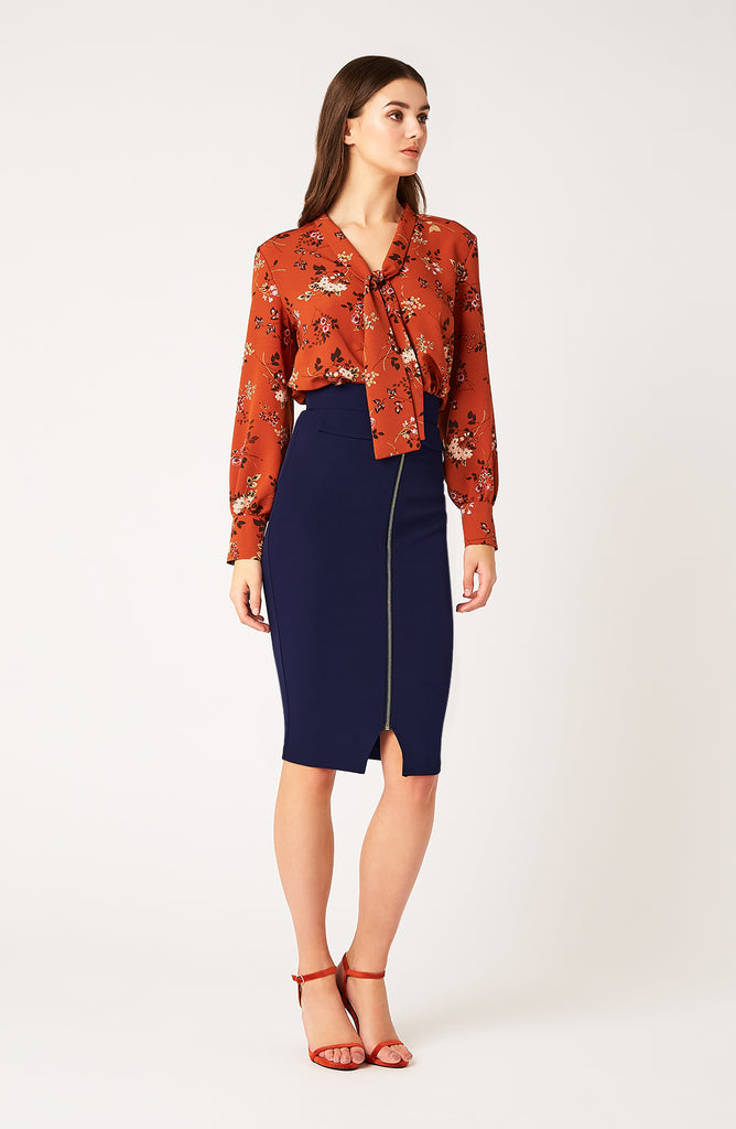 Vesper Blakesly Orange Floral Tie Blouse
