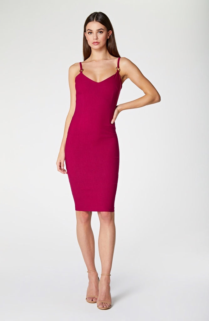 Vesper Amara Berry Strappy Bodycon Midi Dress