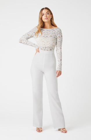 Vesper Leila Ivory Lace Long Sleeve Jumpsuit