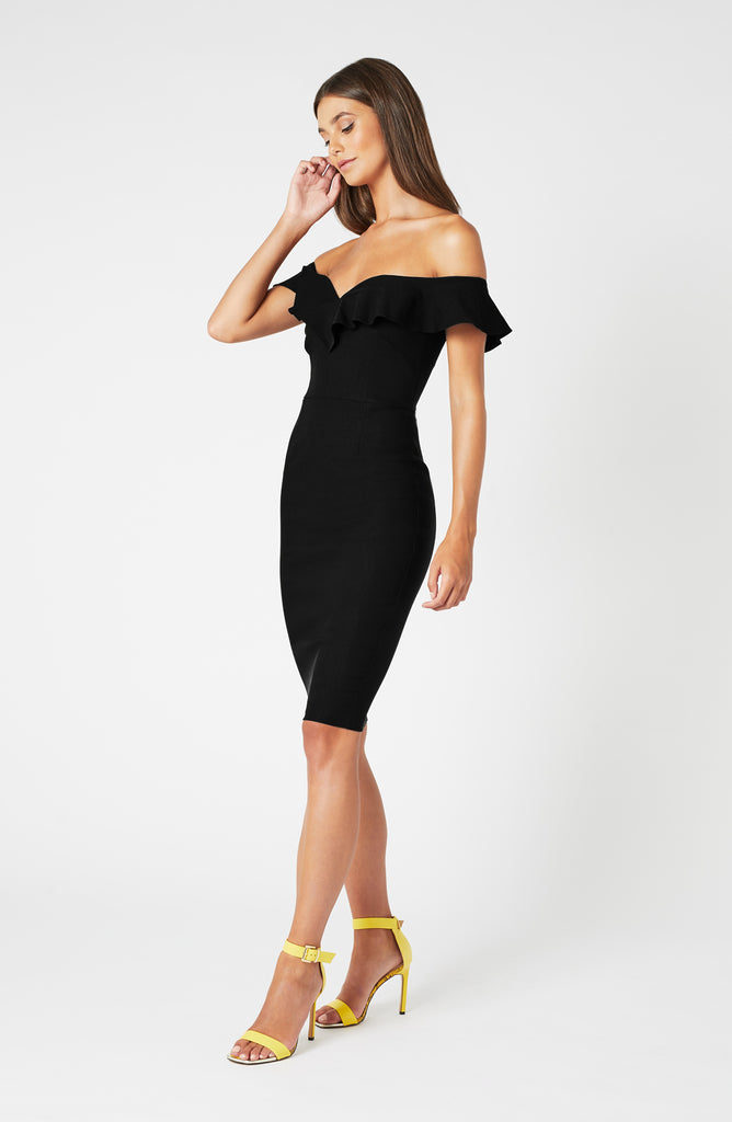 Vesper Annalise Black Frill Bardot Midi Dress