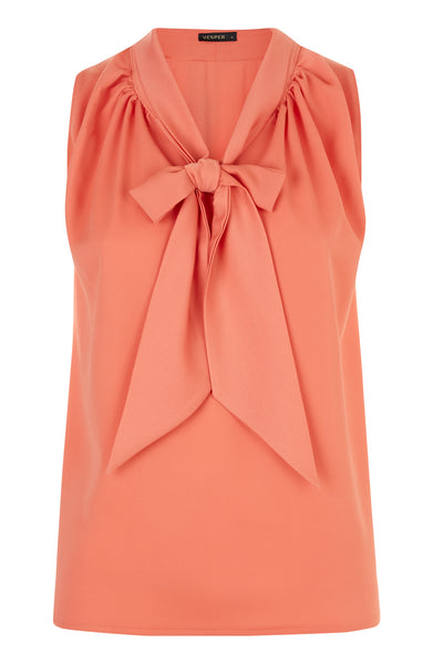 Vesper Nisha Coral Pussy Bow Blouse