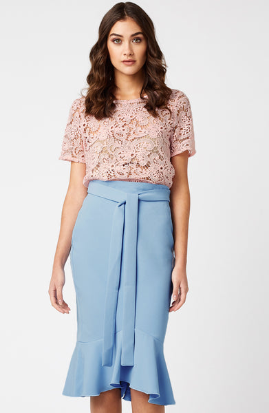 Vesper Sinita Frill Hem Pencil Skirt