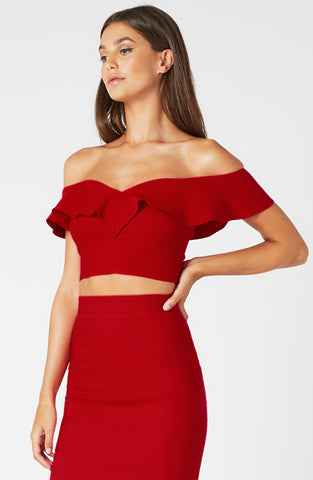 Vesper Anna Red Bardot Frill  Crop Top