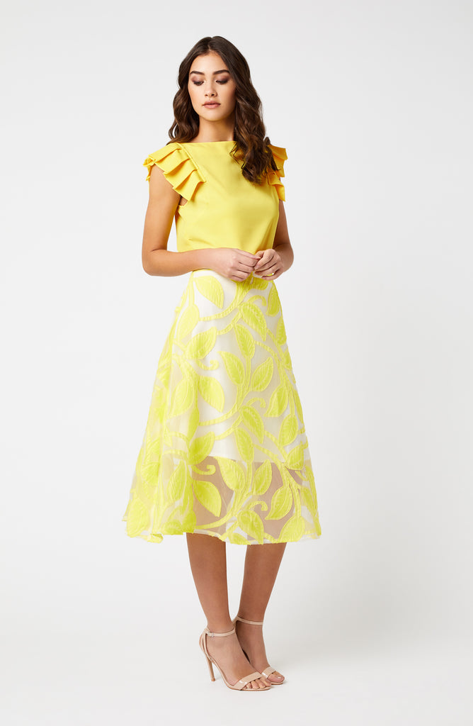 Vesper Morgan Lemon Floral Midi Skirt