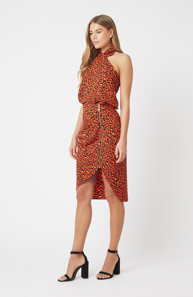 Vesper Auburn Orange Leopard Skirt