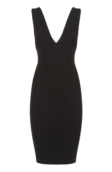 Vesper Lianna Black Plunge Midi Dress