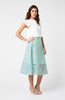 Vesper Morgan Mint Floral Midi Skirt