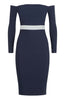 Vesper Vesper Penelope Contrast Bardot pencil dress