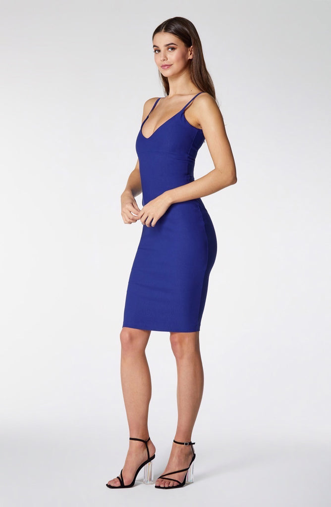 Vesper Ilia Cobalt V-Neck Pencil Dress