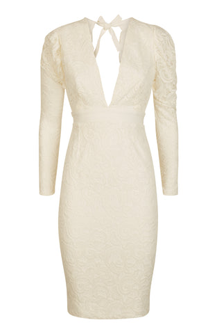 Vesper Shay Lace Plunge Pencil Dress with Exaggerated Sleeves