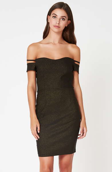 Vesper Abbey Black Glitter Bardot Dress
