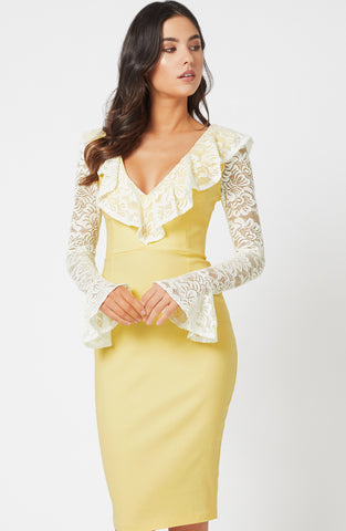 Vesper Mariella Buttercup Lace Sleeve Dress