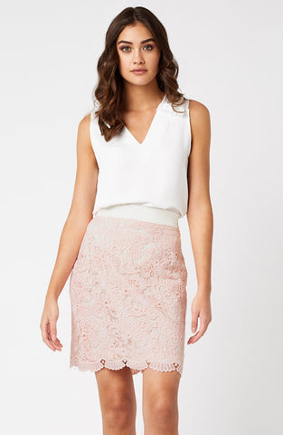 Vesper Kylie Pink Crochet Lace Mini Skirt