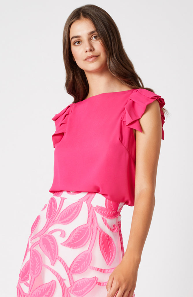 Vesper Lydia Cerise Pleat Sleeve Top