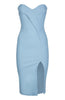 Vesper Mindy Baby Blue Strapless Sweetheart Midi Dress