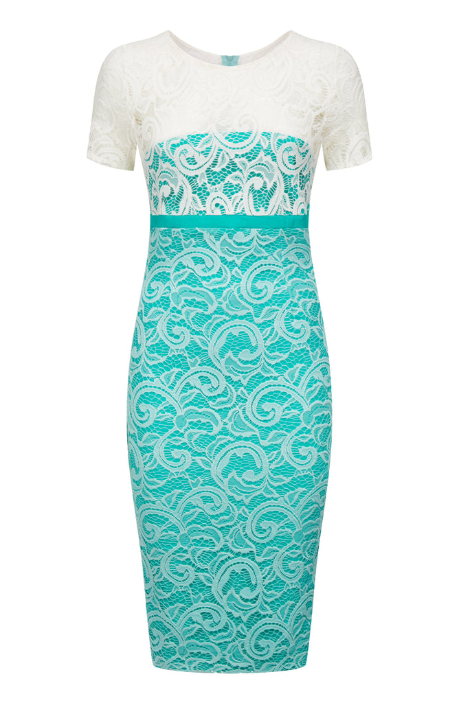 Vesper Klarissa Peacock Lace Pencil Dress