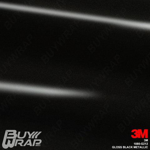 3M 1080 G212 Gloss Black Metallic vinyl car wrap film
