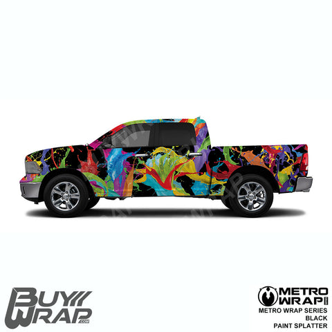 Metro Wrap Series Black Paint Splatter Car Wrap Film