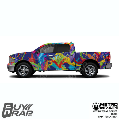 Metro Wrap Series Blue Paint Splatter Car Vinyl Film