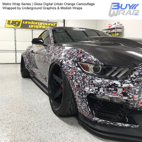 Metro Wrap Series Digital Urban Orange Camouflage Vinyl Wrap Film