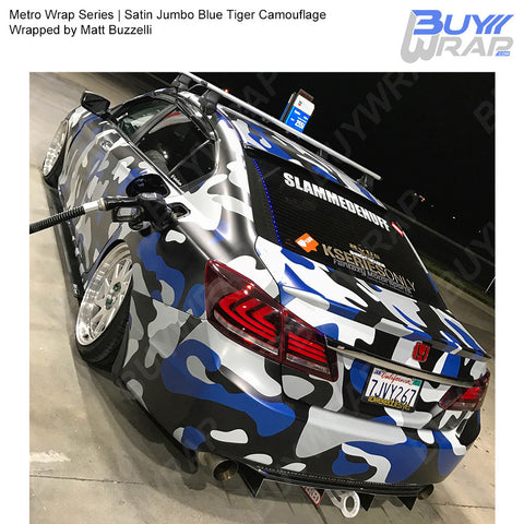 Metro Wrap Series Jumbo Blue Tiger Camouflage Vinyl Wrap Film