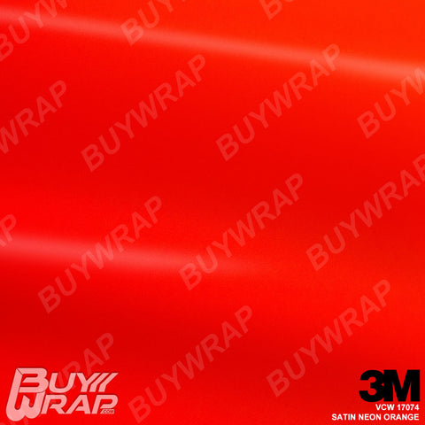 3M VCW17074 Satin Neon Orange Vinyl Vehicle Wrap