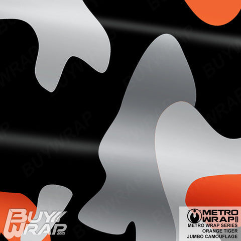 Metro Wrap Series Jumbo Orange Tiger Camouflage Vinyl Wrap Film