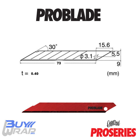 PID Pro Series ProBlade | 10 pack | 9mm Red 90-Degree Stainless-Steel Blade