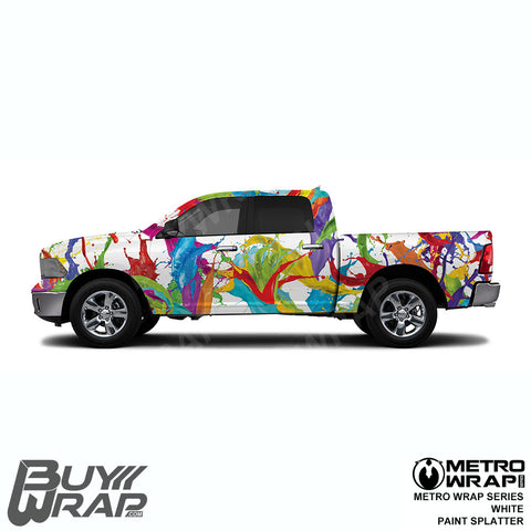 Metro Wrap Series White Paint Splatter Car Wrap Film