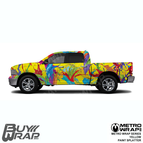 Metro Wrap Series Yellow Paint Splatter Car Wrap Film